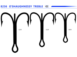 O′shaugnessy Treble Hooks 9626 Bn 4X Strong Fishing Hook