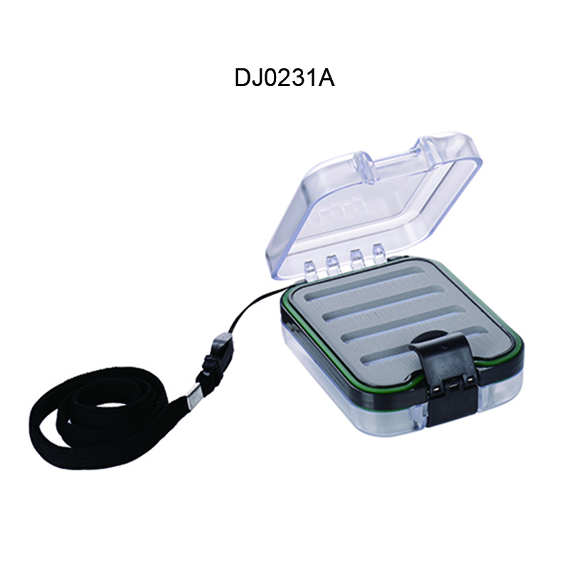 1PC Transparent&Blue+Black Two-Sided Waterproof ABS Fly Fishing Box 9.8*7.3*3.6cm